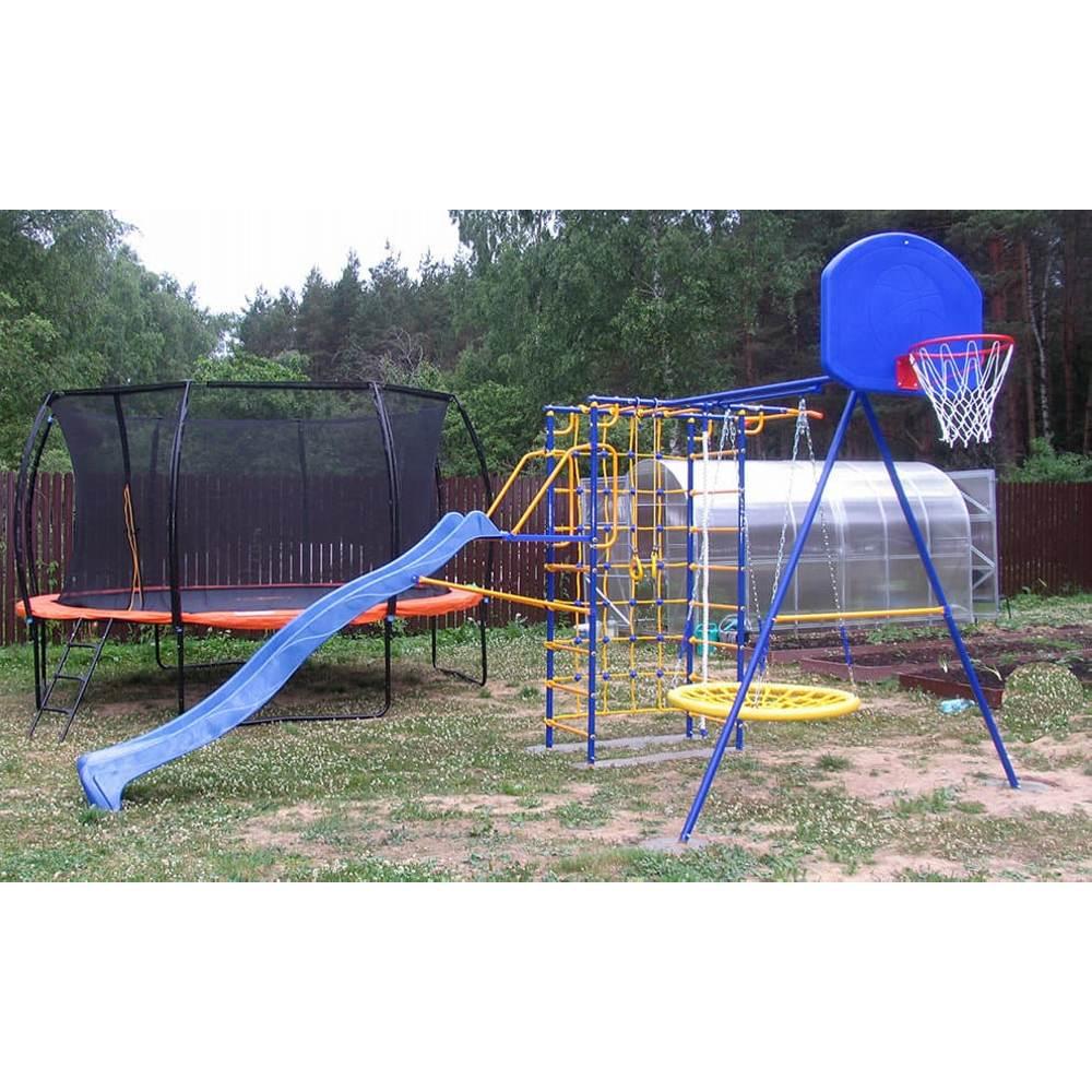 Модель № 3 с горкой-волна 3,0 метра, площадкой под горку, качелями-гнездо и баскетбольным кольцом 2