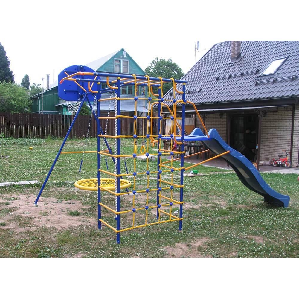 Модель № 3 с горкой-волна 3,0 метра, площадкой под горку, качелями-гнездо и баскетбольным кольцом