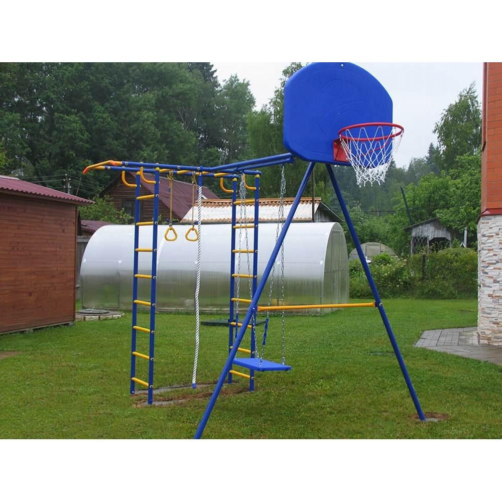 Непоседа-Дачник Модель № 2 с качелями на цепях-подшипниках и баскетбольным кольцом